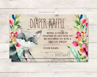 Diaper Raffle Ticket, Baby Shower Diaper Raffle, Raccoon Diaper Raffle, Baby Shower Invite, Woodland, Raccoon Shower, Printable No. 1047