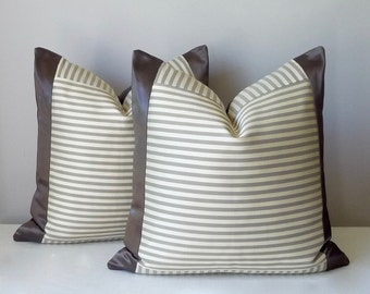 Grey Mink Striped Silk Pillow, Color Block Pillow, Geometric, Contemporary, Modern Pillow, 20x20,