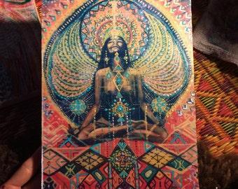 Highest high hand tranfer on wood hand painted yoga art visionary art