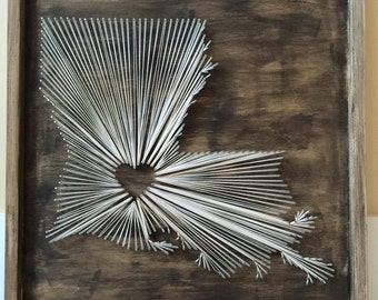 Nail and String State Wall Art, Louisiana, State String Art, hometown State String Art,  String Art Louisiana, Home Decor, Wall Hangings,