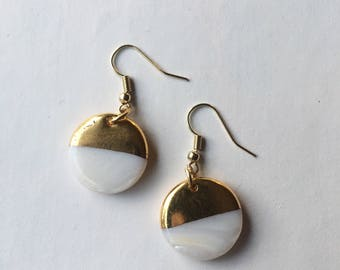 Gold dipped mother of pearl earrings