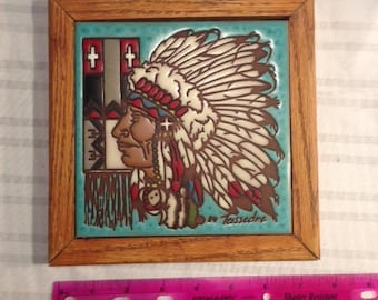 Vintage Teissedre Tile Art 1984 Native American