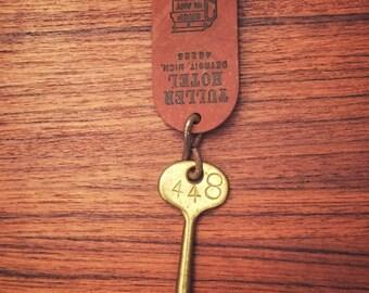 Antique brass key Hotel Tuller Detroit skeleton key