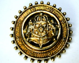 AJC Signed Royalty SHIELD Brooch, Gold Metal Crest Pin, Crusader, Thrones Game, Medieval