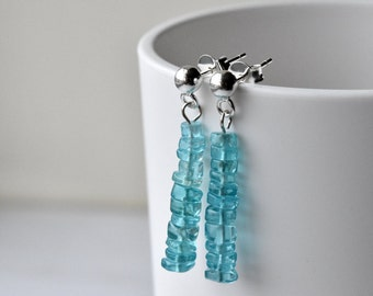 Blue Earrings - Sterling Silver - Mothers Day - Post Earrings - Gift for Her - Apatite Earrings - Gemstone Jewellery - Silver Post Earrings