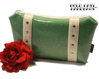 Aqua Glitter Cosmetic Bag with Your Choice of Trim, Retro Bag, Seafoam Vinyl, Mint Green Vinyl - MADE TO ORDER
