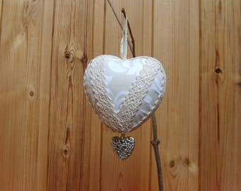 Light beige fabric decorative hanging heart
