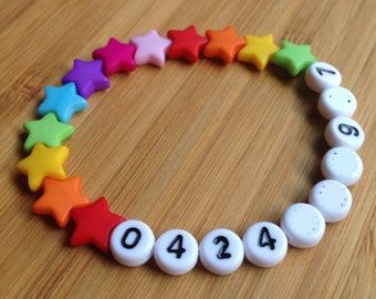 Phone Number ID Bracelet - emergency - find me fast - Rainbow Stars