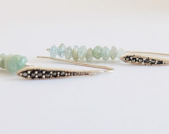 Delicate Silver Earrings,Delicate linearEarrings,boho chic Earrings,Simple aquamarine earrings,Silver Marcasite hear wire,aquamarine bar