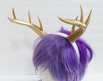 Gold Christmas Doe / Deer Antlers Horns  3D Printed (Ultra Light Weight Plastic)gold Reindeer Antlers Reindeer headdress