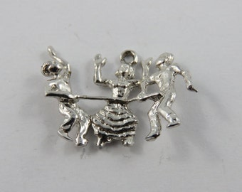 Woman Doing the Limbo Dance Sterling Silver Charm of Pendant.