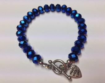 Dark Blue Faceted Rondelle beaded bracelet