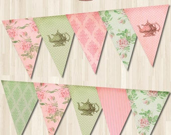 Shabby Chic Instant download Tea party Bunting Banner. Pink and Green Digital Printable
