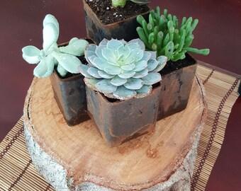 Multi Tiered Metal Planter Pot - Herb planter - Succulent planter - Rustic wedding center piece
