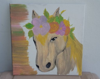 Horse & flowers painting
