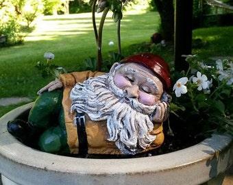 Mr. Napsalot Hand Painted Concrete Garden Gnome