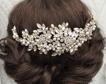 Bridal Hair Vine - Bridal hair comb - bridal headpiece , crystal Wedding hair comb - Bridal hair - bridal headpiece - Hair vine