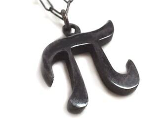 Silver Pi Necklace - Black Pi Necklace - Pi Necklace - Geek Necklace - Pi Day - Pi Jewelry - Pi Symbol Necklace - Yay Science! - 314
