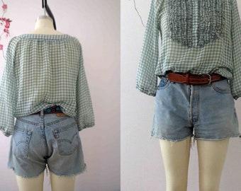 501 Levis Blue Denim Cut Out Shorts Size 10 Button Fly