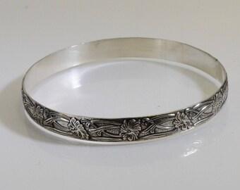 Sterling Silver Bangle - Antiqued Floral Design
