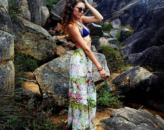floral high waisted maxi skirt with side splits