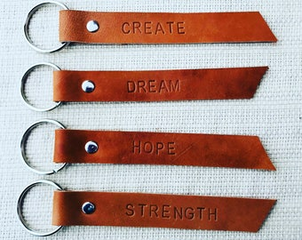 Leather keychain/Repurposed leather keychain/Stocking Stuffer/Hand stamped/Personalized gift