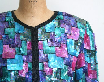 vintage 80s sequin jacket - sequined cardigan / rainbow sequined jacket - deco party top / 80s beaded jacket - sparkly 80s top