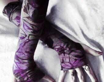 Midnight Moth Arm Warmers - Heather Grey Dark Brown Violet Purple Floral Burnout - Yoga Gloves Gothic Woodland Noir Cycling Boho Light Goth