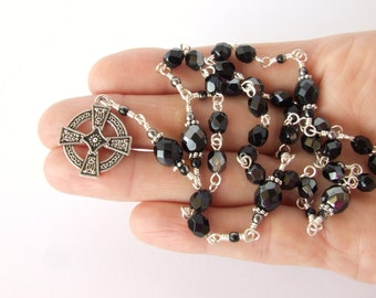 Anglican Prayer Beads - Black with Metallic Hematite Czech Glass Anglican Rosary - Protestant Prayer Beads - Christian Gift
