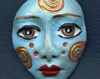 Polymer Clay One of a Kind  Spirit Doll Abstract Textured  Face Cab   Un Drilled SF 16