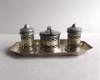 EPNS Vintage Salt Pepper Shakers, Mustard Pot, Cobalt Blue Glass Liner, 1940s. English Trio Set Silver Plated Dinner Table Accessories