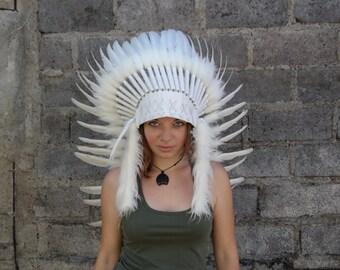Feather Headdress, native american, indian headdress, warbonnet, indian costume, festival, bohemian, ethnic wear, home decor, handmade,