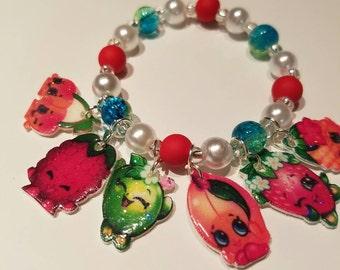 Shopkin charm bracelet, shopkin party favor, beaded bracelet