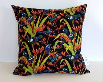 New Zealand Pillow Cover, Made in New Zealand, Gift, Decorative pillow, Tui Bird Cushion Kiwiana. Pillow, Cushion Cover, Throw pillow cover.
