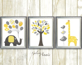 Giraffe Nursery art print Elephant Nursery wall decor baby nursery decor Animal Children yellow gray bird Tree - Set of three prints