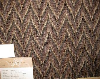Flamestitch Zigzag Stirated Tapestry DESIGNER FABRIC SAMPLE Highland Court Brown Black