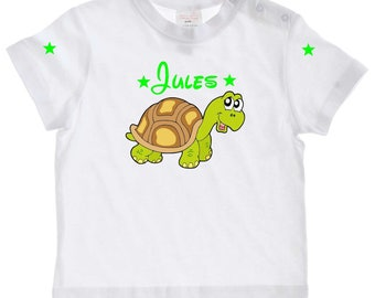 baby little turtle personalized with name t-shirt