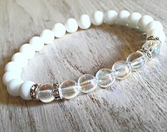 angel aura quartz bracelet healing crystal jewelry white stone bracelet agate jewelry spiritual bracelet rainbow bracelet aura quartz  8 mm