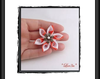 White satin kanzashi flowers / orange