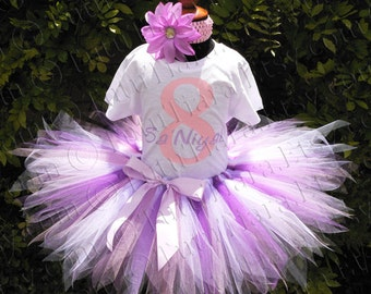 Girls Tutu Birthday Set Purple Lavender Pink White Pixie Tutu Shirt or Bodysuit and Headband, Photo Prop Outfit for Babies, Toddlers, Girls