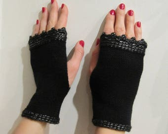 Black Fingerless Gloves, Arm Warmers, Wrist Warmers,  Texting Gloves,, Clothing Gift Tattoo Cover Up, Covers, Outdoors Gift for Her