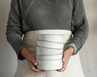 Ceramic Bowl Set, White Ceramic Bowl, Soup Bowls, Ceramic Stoneware Bowl, Salad Bowl, Cereal Bowl, Rustic Bowl, Kitchen Gift, Kitchenware
