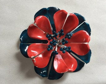 Mod 70s Red and Navy Blue Enamel Floral Pin