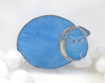 Blue Sheep Nightlight Glass Night Light Stained Glass Handmade OOAK Kids Nursery