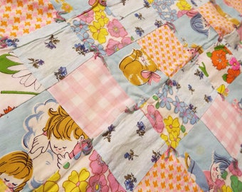Vintage Handmade Novelty Fabric Cotton Flannel Backed Patchwork Baby Girl Quilt Blanket