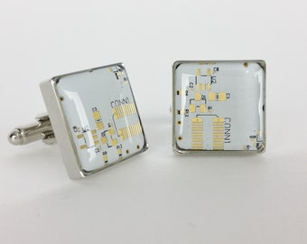 White and Gold Circuit Board Cufflinks - Handmade Cufflinks  w/ Recycled Technology - Silver Plated - Choose Round or Square