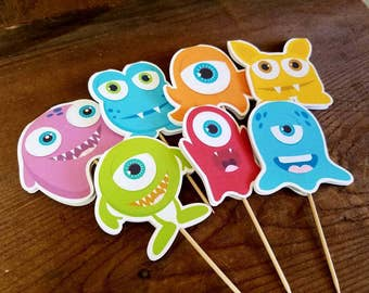 Little Monsters Party - Set of 12 Double Sided Assorted Monster Cupcake Toppers by The Birthday House