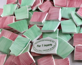 75 Brushed Pink And Green Pastel Broken China Tiles & Mosaic Supplies
