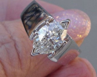 Fat Marquise Shaped Diamond Ring - 1.56 Carat Solitaire 14K White Gold