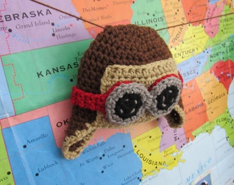Crochet baby aviator hat Crochet baby aviator hat baby aviator hat pilot hat aviator hat with goggles baby photography prop baby pilot hat